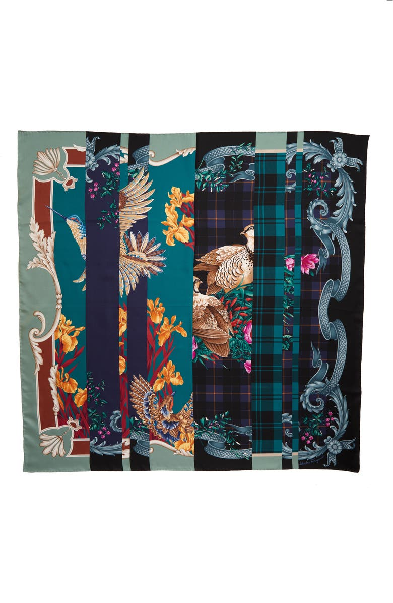 SALVATORE FERRAGAMO Foulard Susanne Patchwork Silk Square Scarf, Main, color, 001