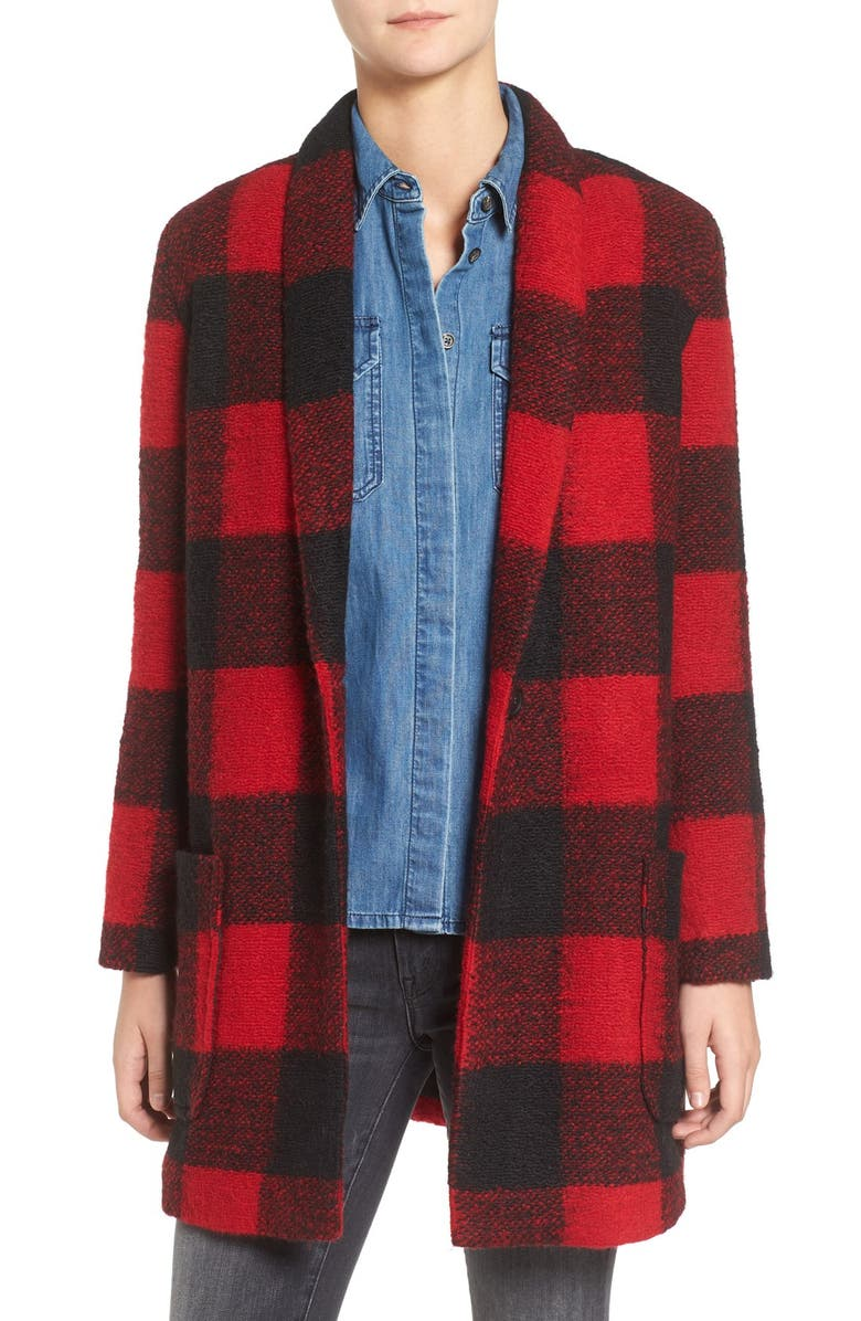 BB DAKOTA Holton Plaid Shawl Collar Coat, Main, color, 600