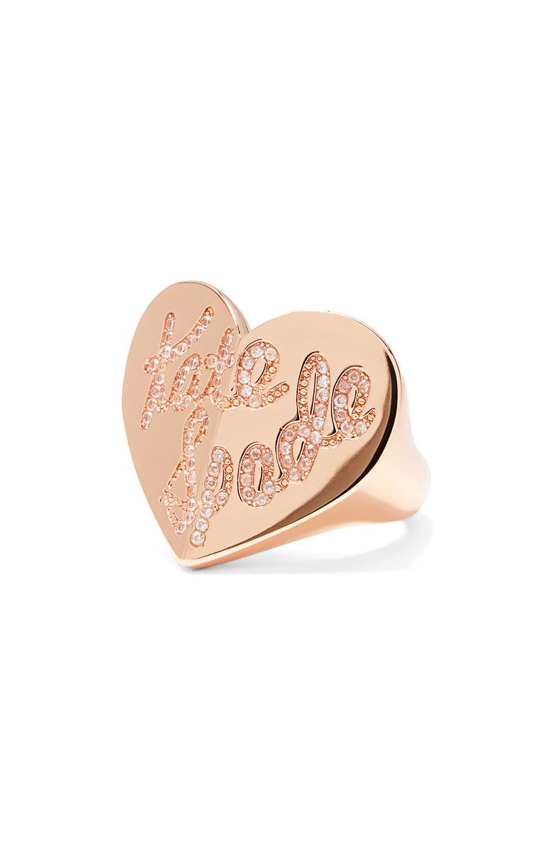 KATE SPADE NEW YORK heritage spade pavé script heart ring, Main, color, CLEAR/ ROSE GOLD