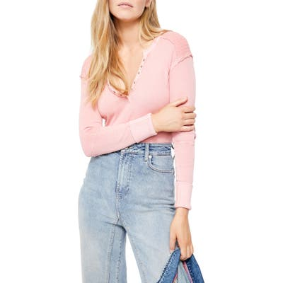 Free People Military Mix Henley, Pink