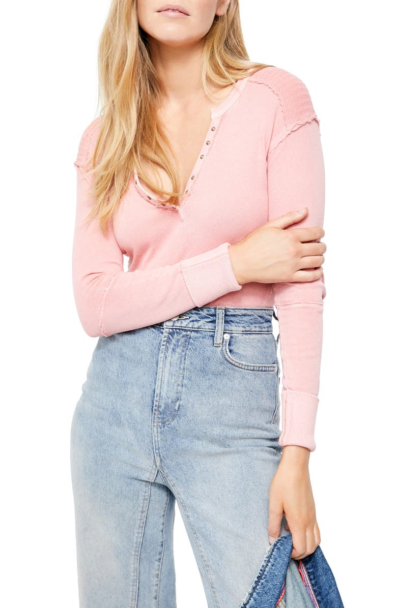 FREE PEOPLE Military Mix Henley, Main, color, CRUSH BLUSH COMBO