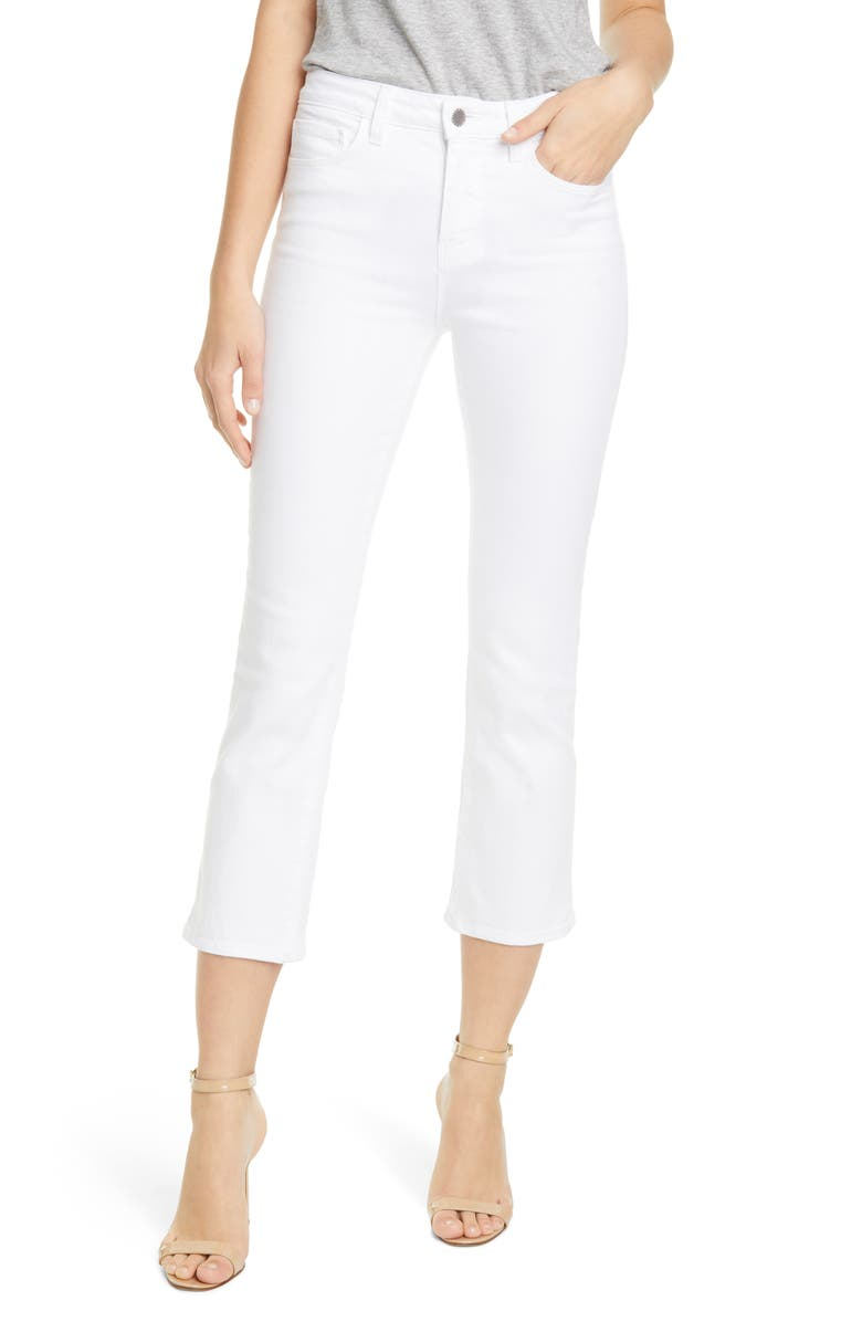 L'AGENCE Nadia Crop Straight Leg Jeans, Main, color, 100