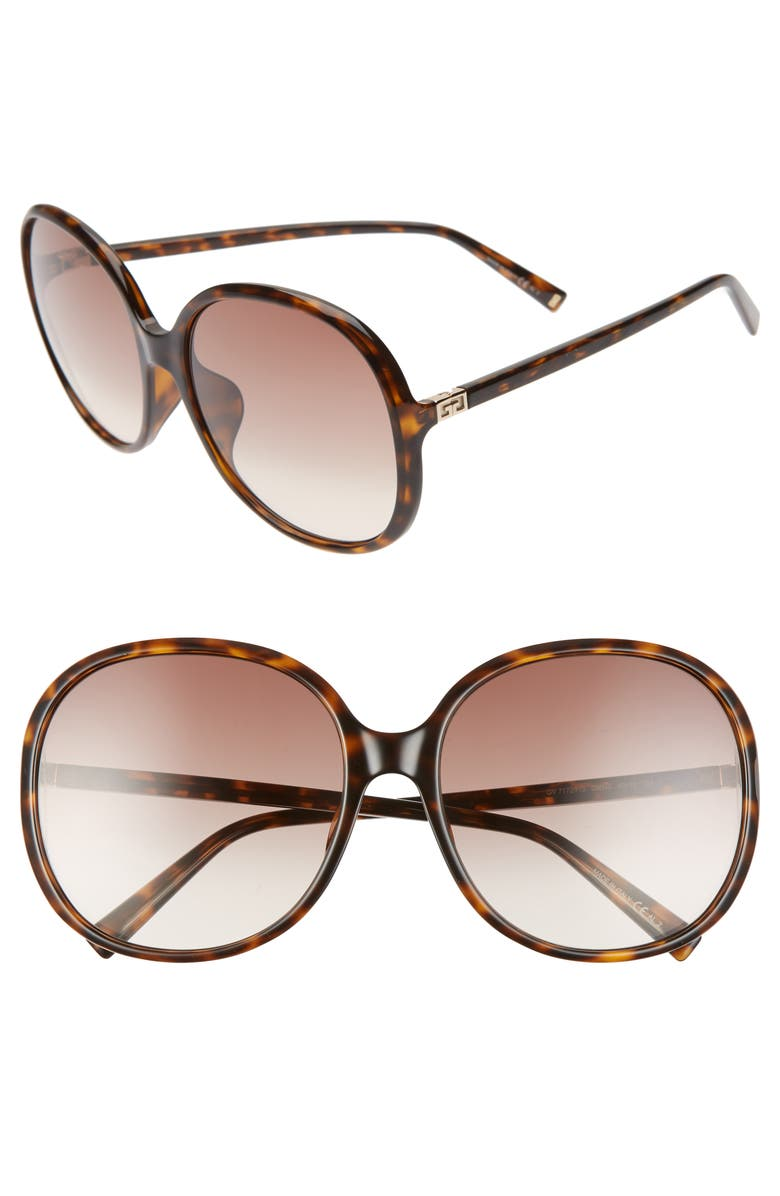 GIVENCHY 63mm Oversize Gradient Round Sunglasses, Main, color, DARK HAVANA/ BROWN