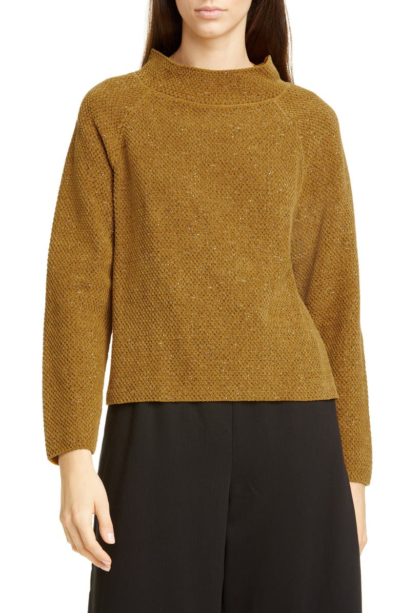 EILEEN FISHER Funnel Neck Organic Cotton Sweater, Main, color, ARNICA