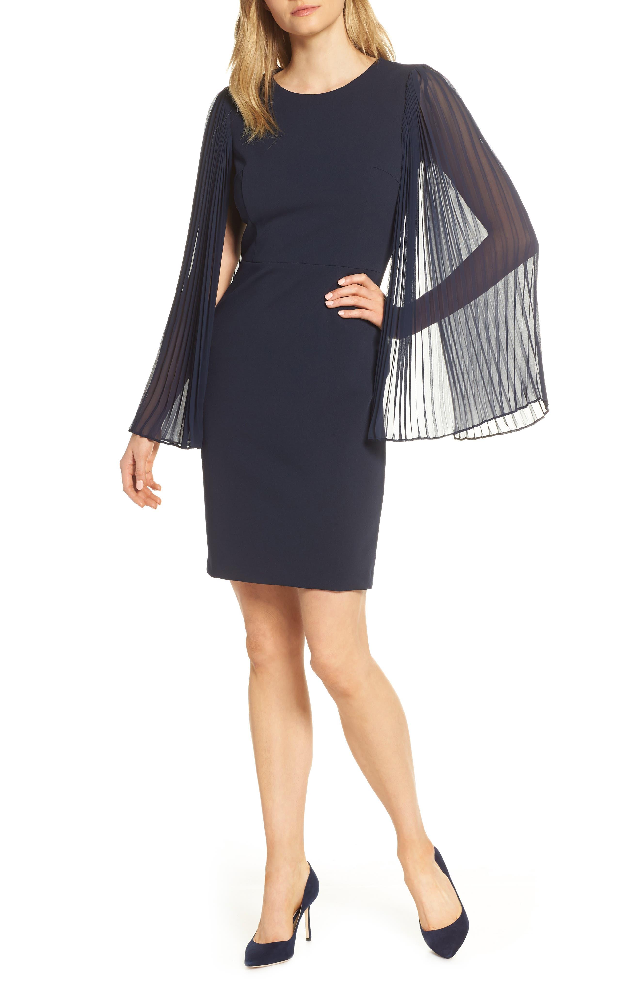 Petite Harper Rose Pleated Chiffon Long Sleeve Scuba Crepe Cocktail Dress, Blue