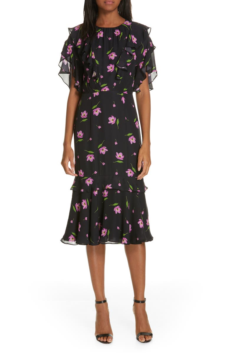 MILLY Gia Floral Print Ruffle Silk Dress, Main, color, 001