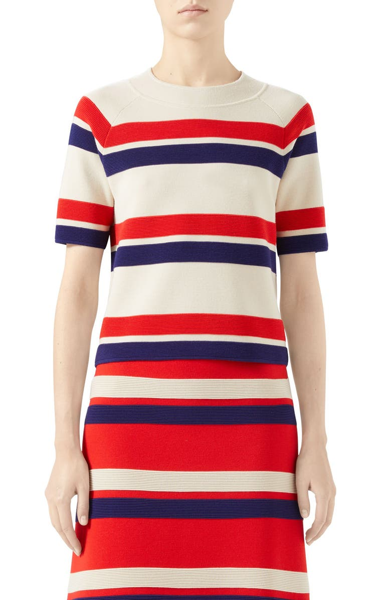 GUCCI Stripe Wool Sweater, Main, color, IVORY/ RED