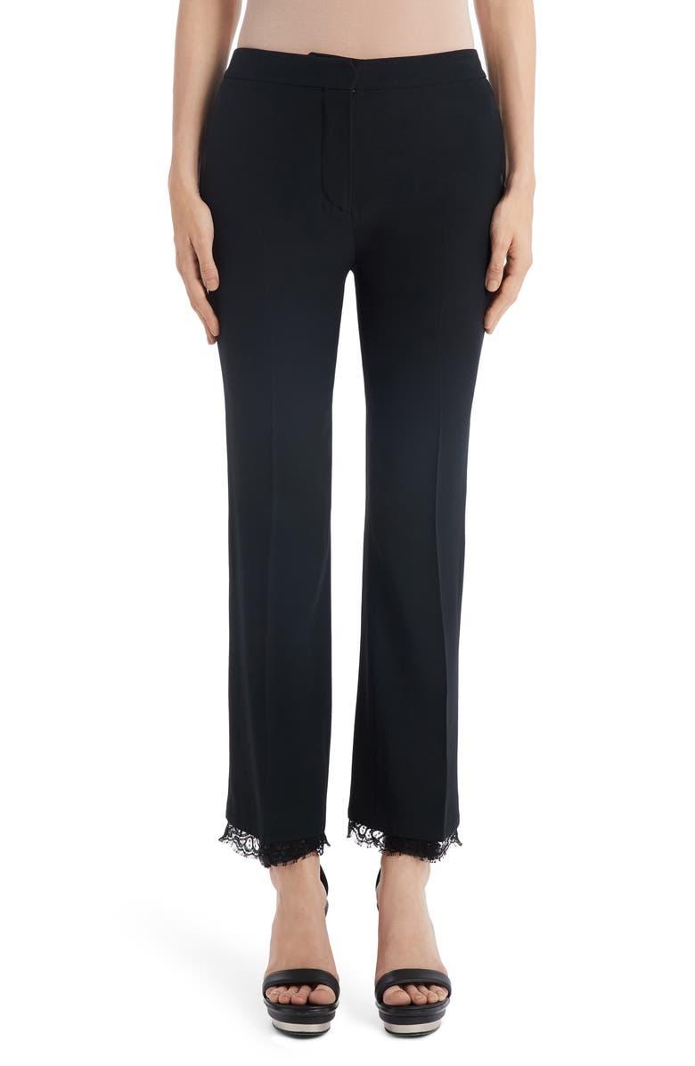 ALEXANDER MCQUEEN Lace Hem Ankle Pants, Main, color, BLACK