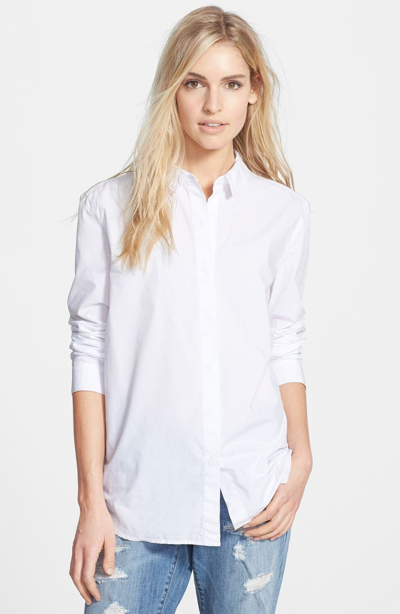 TREASURE & BOND Treasure&Bond Boyfriend Poplin Shirt, Main, color, 100