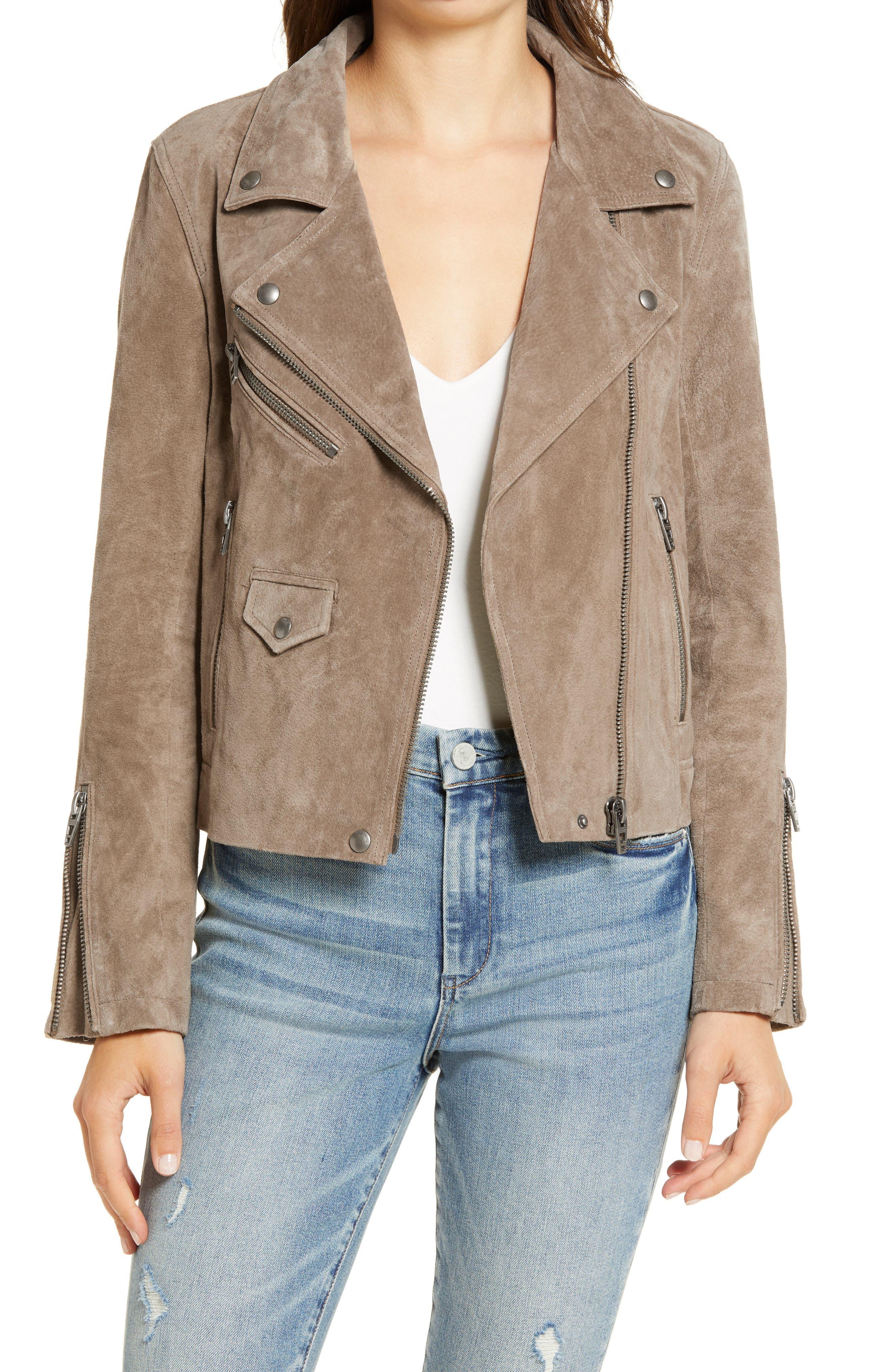 Women's Blanknyc Vital Signs Suede Moto Jacket, Size Medium - Brown