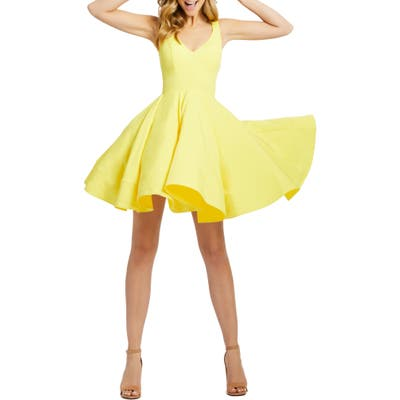 Ieena For MAC Duggal Double V-Neck Fit & Flare Party Dress, Yellow
