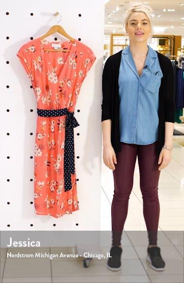 Floral Print Contrast Belt Dress, sales video thumbnail