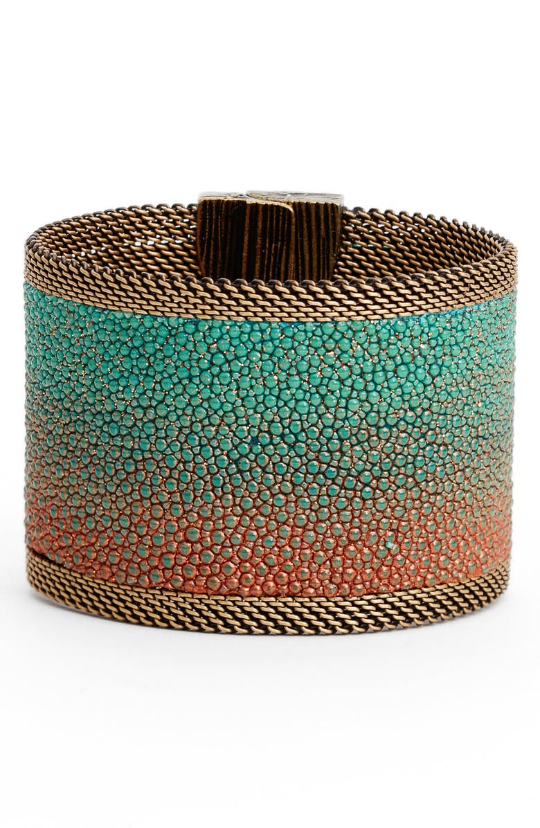 CYNTHIA DESSER Wide Shimmer Stingray Bracelet, Main, color, TURQ/CORAL/COPPER/BRASS