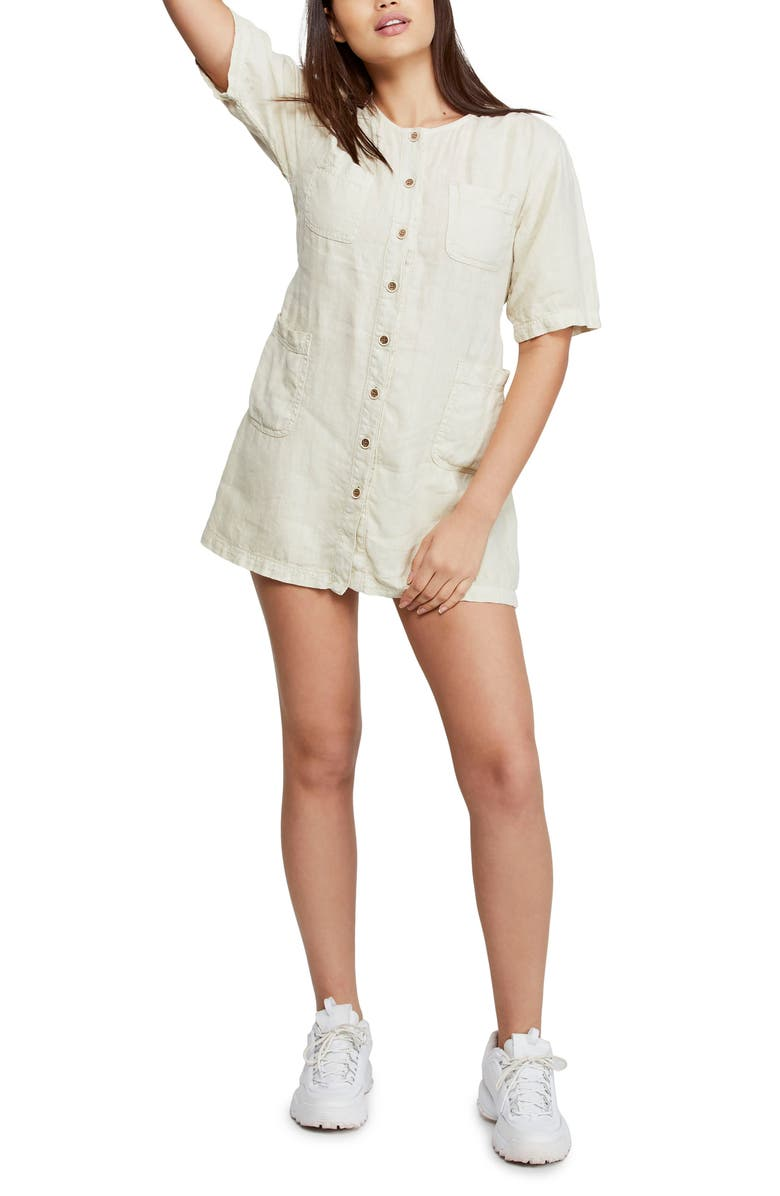 BDG Urban Outfitters Linen Utility Minidress, Main, color, STONE