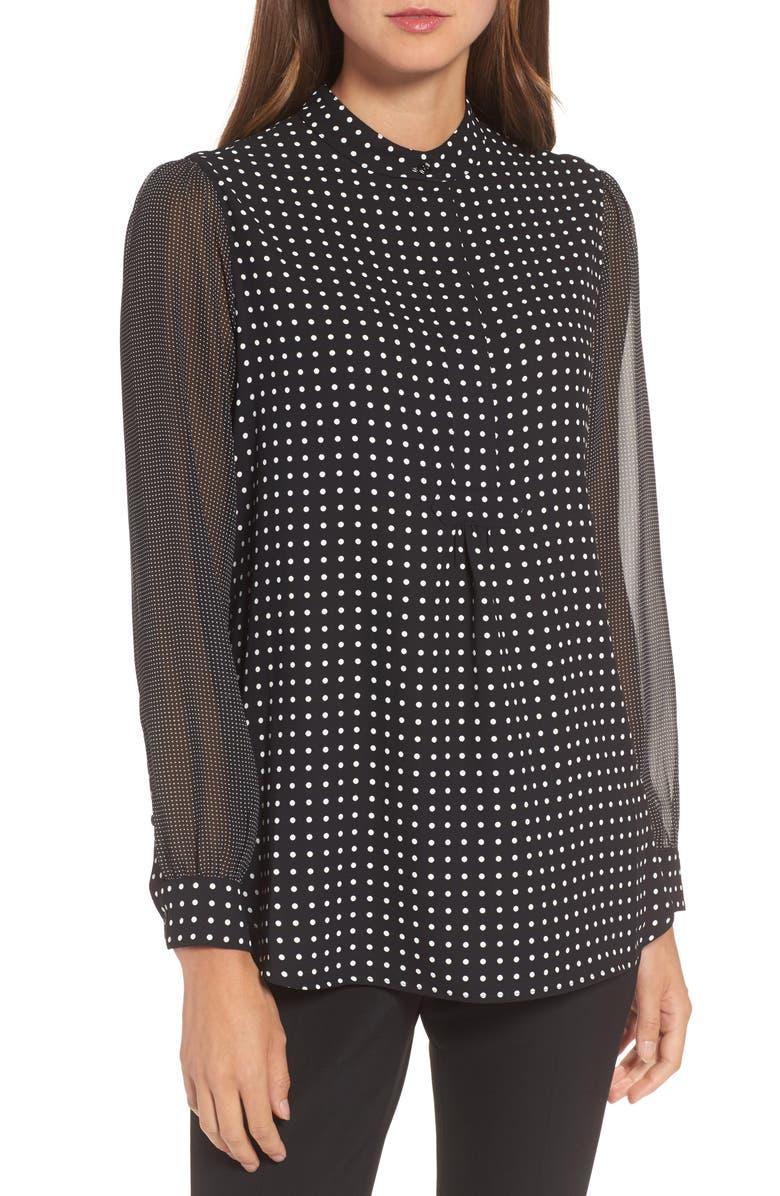 ANNE KLEIN Mixed Dot Print Blouse, Main, color, BLACK/ WHITE