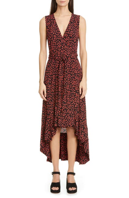 Image of GANNI Floral Logo Print High/Low Wrap Dress