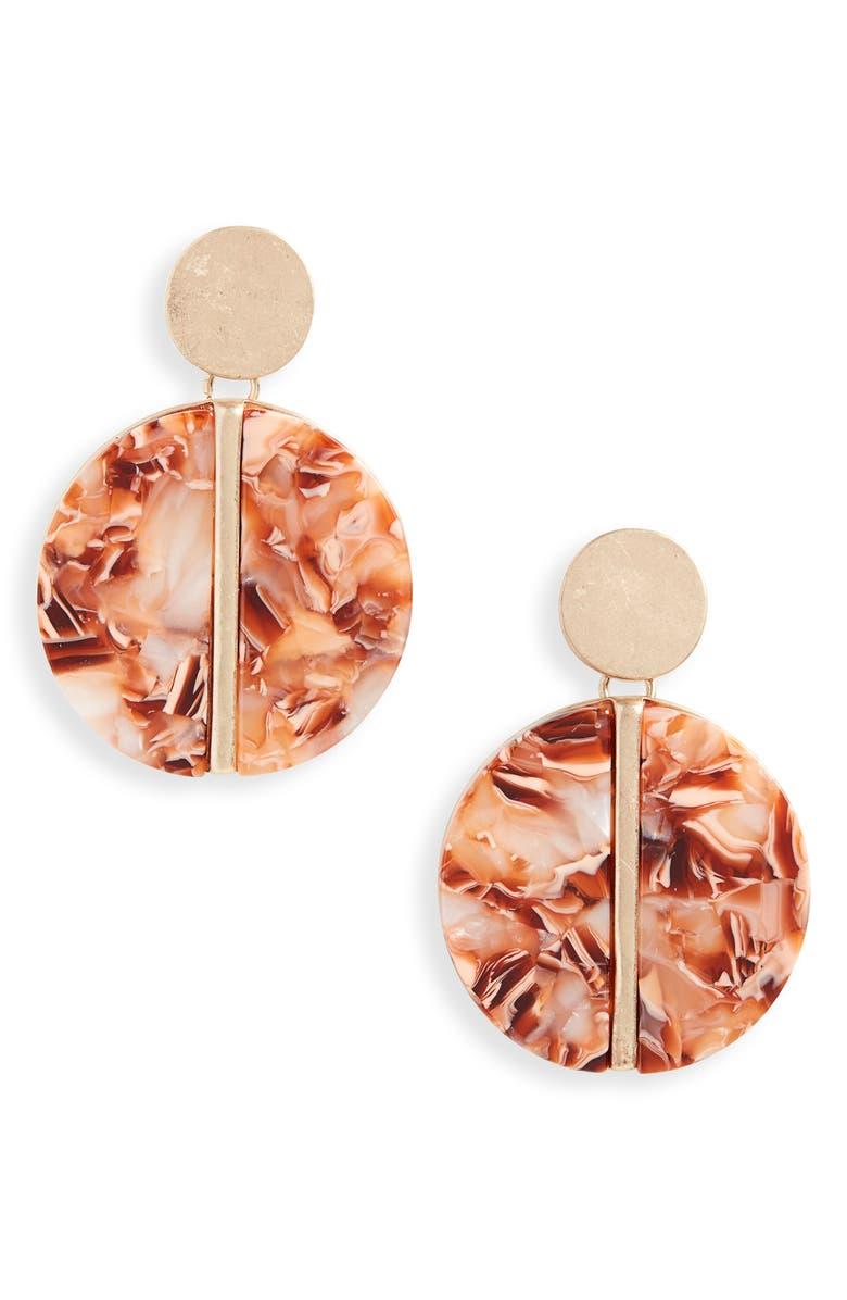 BP. Geometric Drop Earrings, Main, color, 660