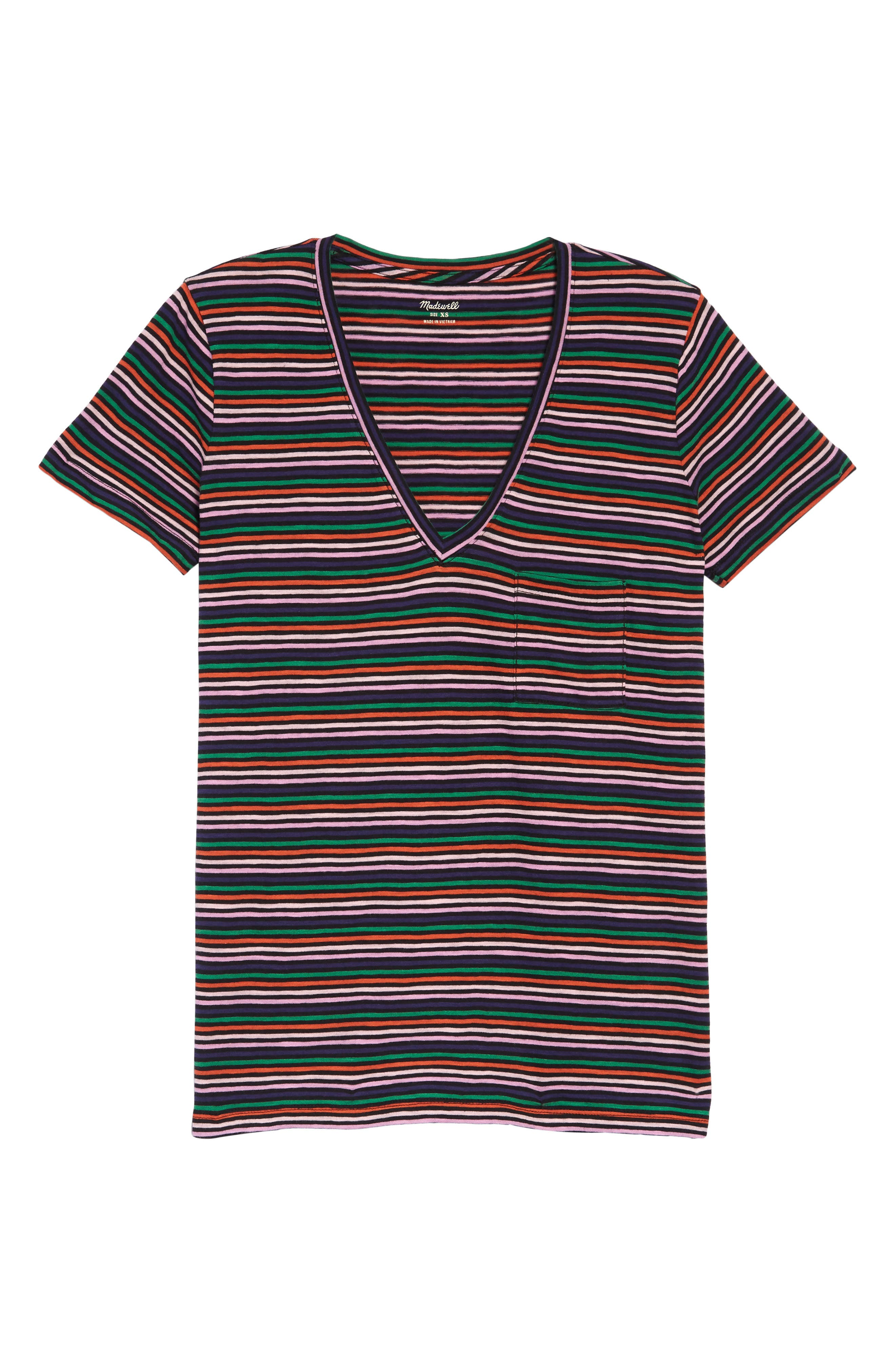 Whisper Cotton Stripe V-Neck Pocket Tee, Main, color, COASTAL RAINBOW NIAS STRIPE