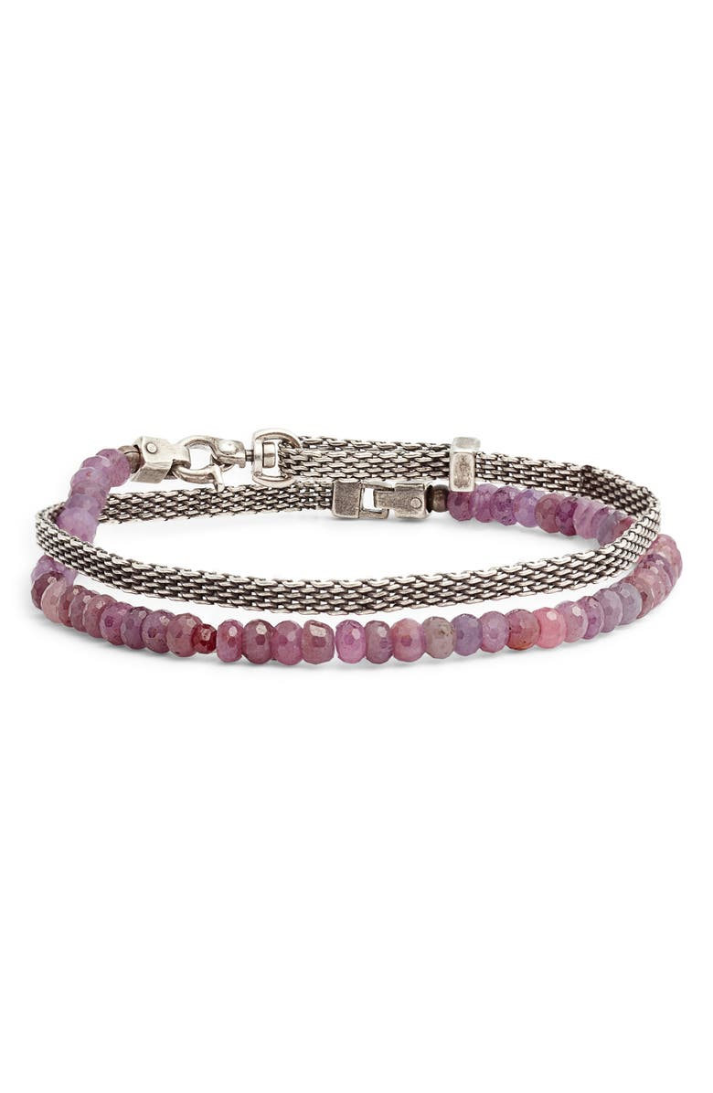 TITLE OF WORK Beaded Wrap Bracelet, Main, color, SILVER/ PINK/ RED