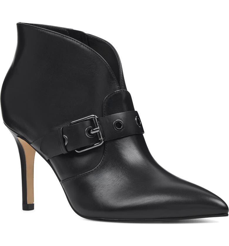 NINE WEST Jax Heel Bootie, Main, color, BLACK LEATHER