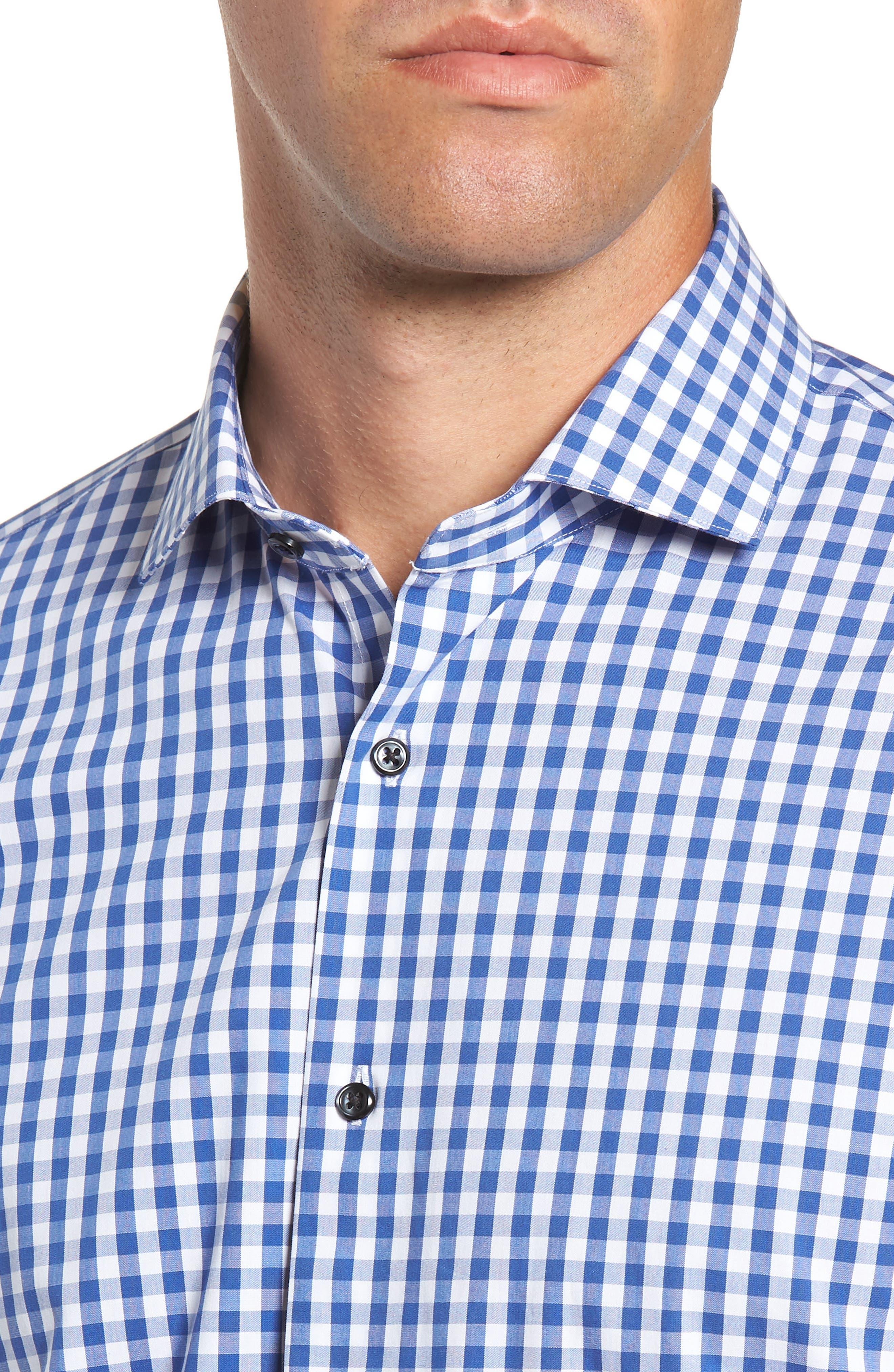 ,                             Tech-Smart Trim Fit Stretch Check Dress Shirt,                             Alternate thumbnail 28, color,                             420
