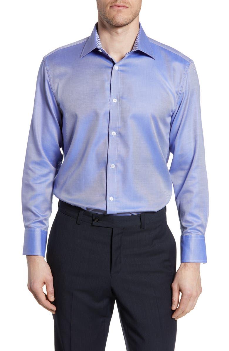 ENGLISH LAUNDRY Trim Fit Stripe Dress Shirt, Main, color, NAVY