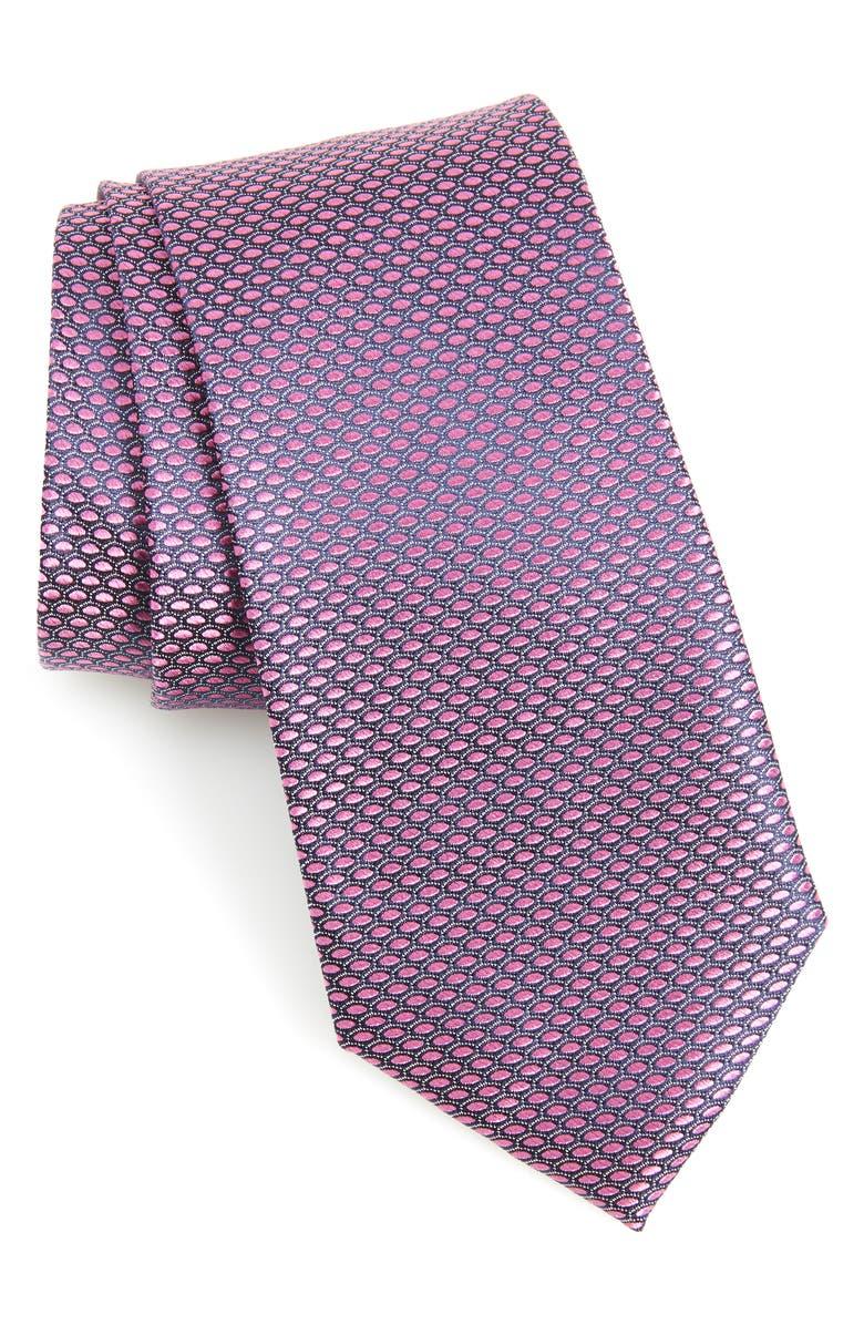 NORDSTROM MEN'S SHOP Soda Geometric Silk Tie, Main, color, BERRY