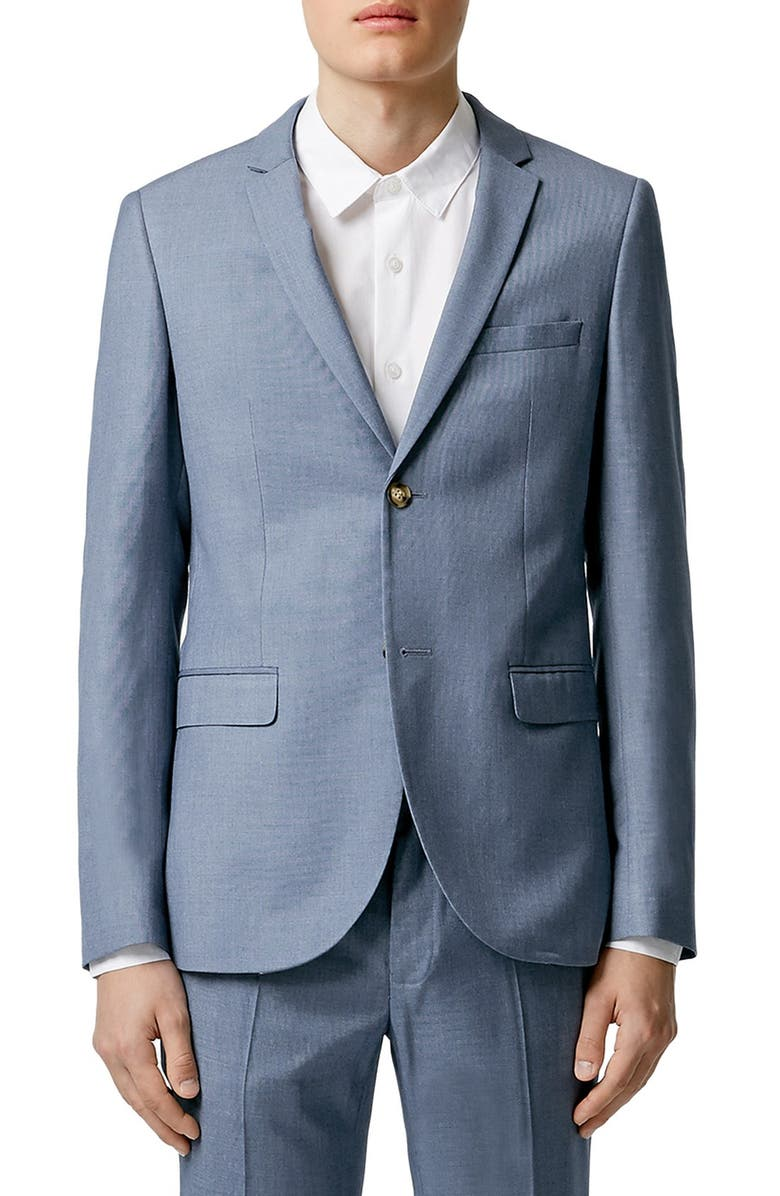 TOPMAN Blue Skinny Fit Suit Jacket, Main, color, 400