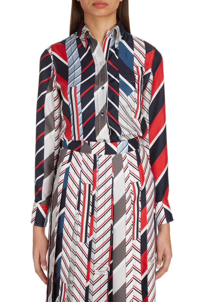 THOM BROWNE Tie Collage Print Silk Blouse, Main, color, SEASONAL MULTI