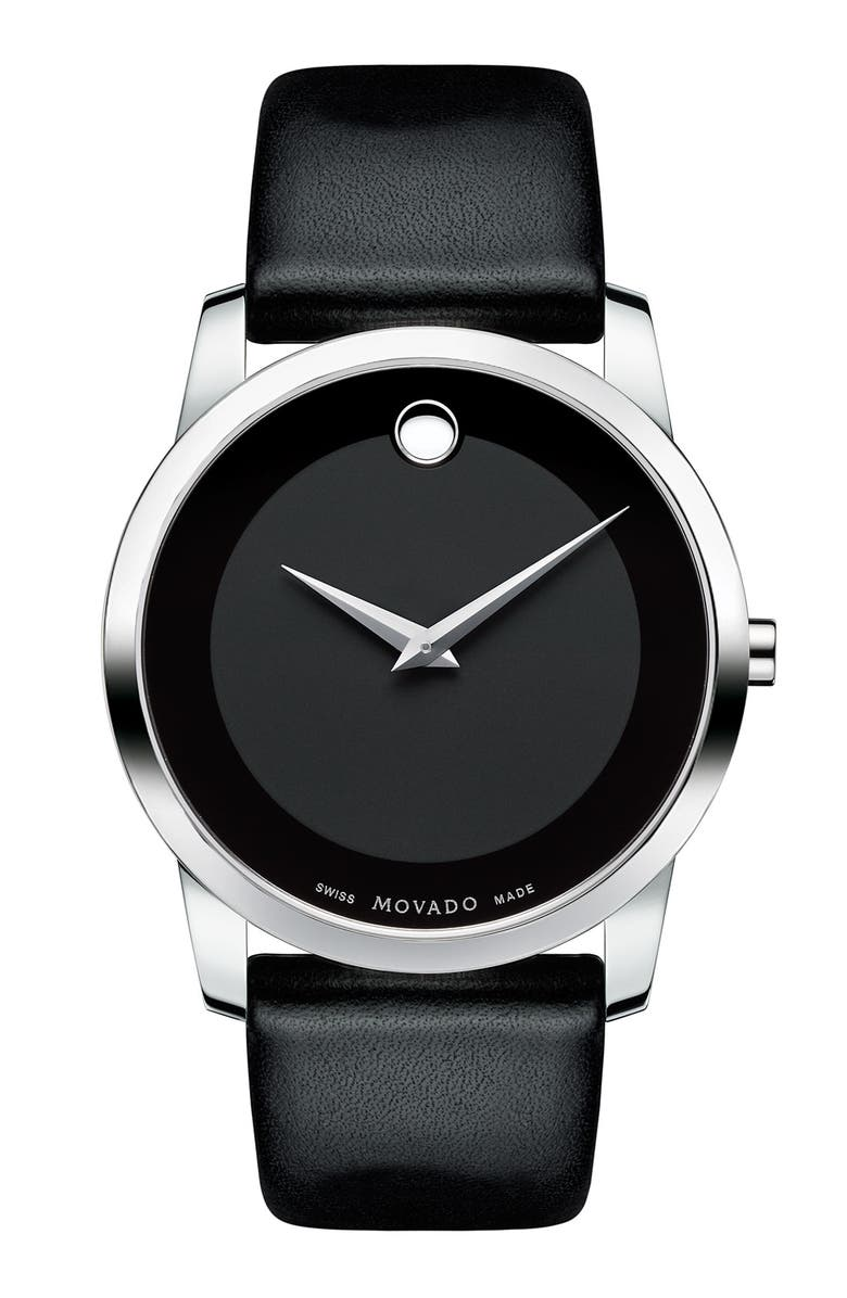 MOVADO 'Museum' Leather Strap Watch, 40mm, Main, color, 001