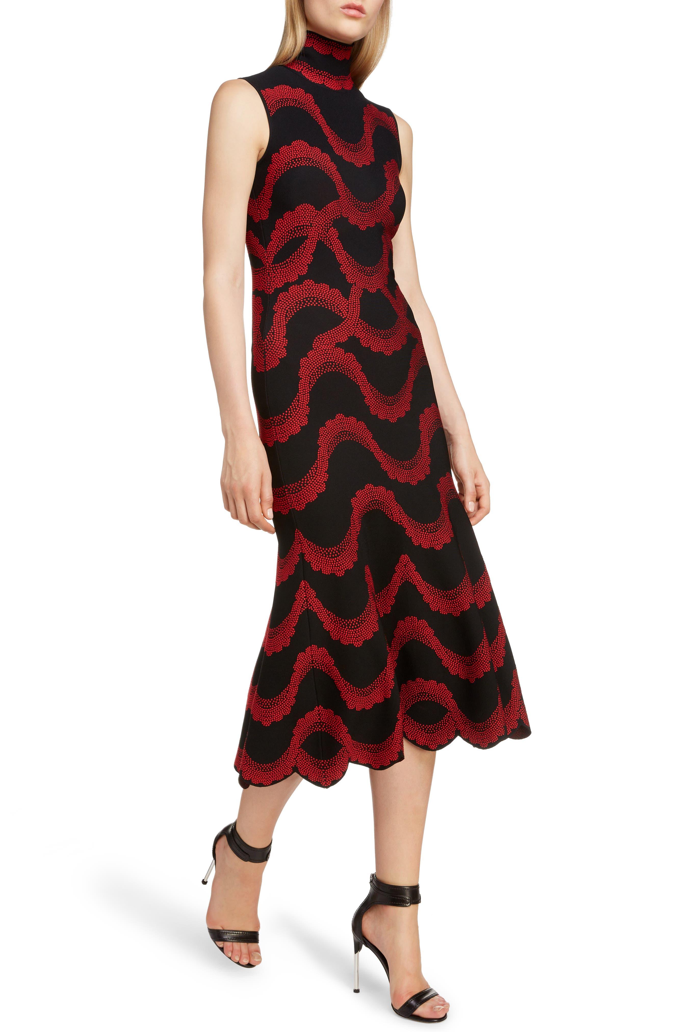 ,                             Wave Jacquard Midi Dress,                             Alternate thumbnail 4, color,                             BLACK/ RED