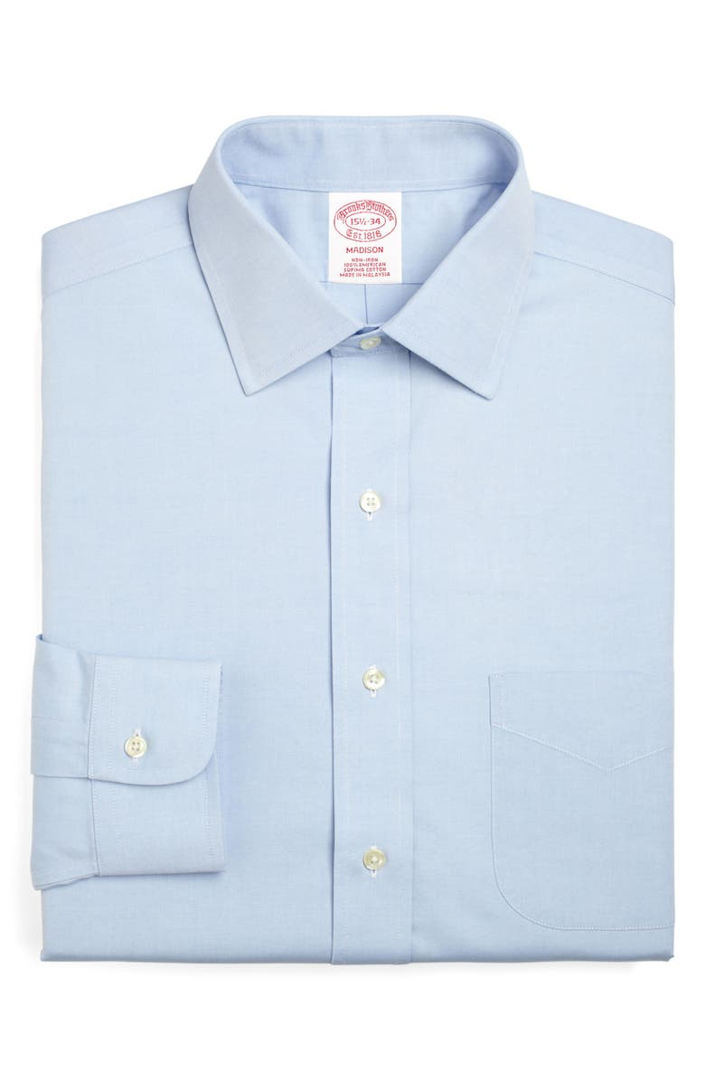 BROOKS BROTHERS Madison Classic Fit Solid Dress Shirt, Main, color, LIGHT/ PASTEL BLUE