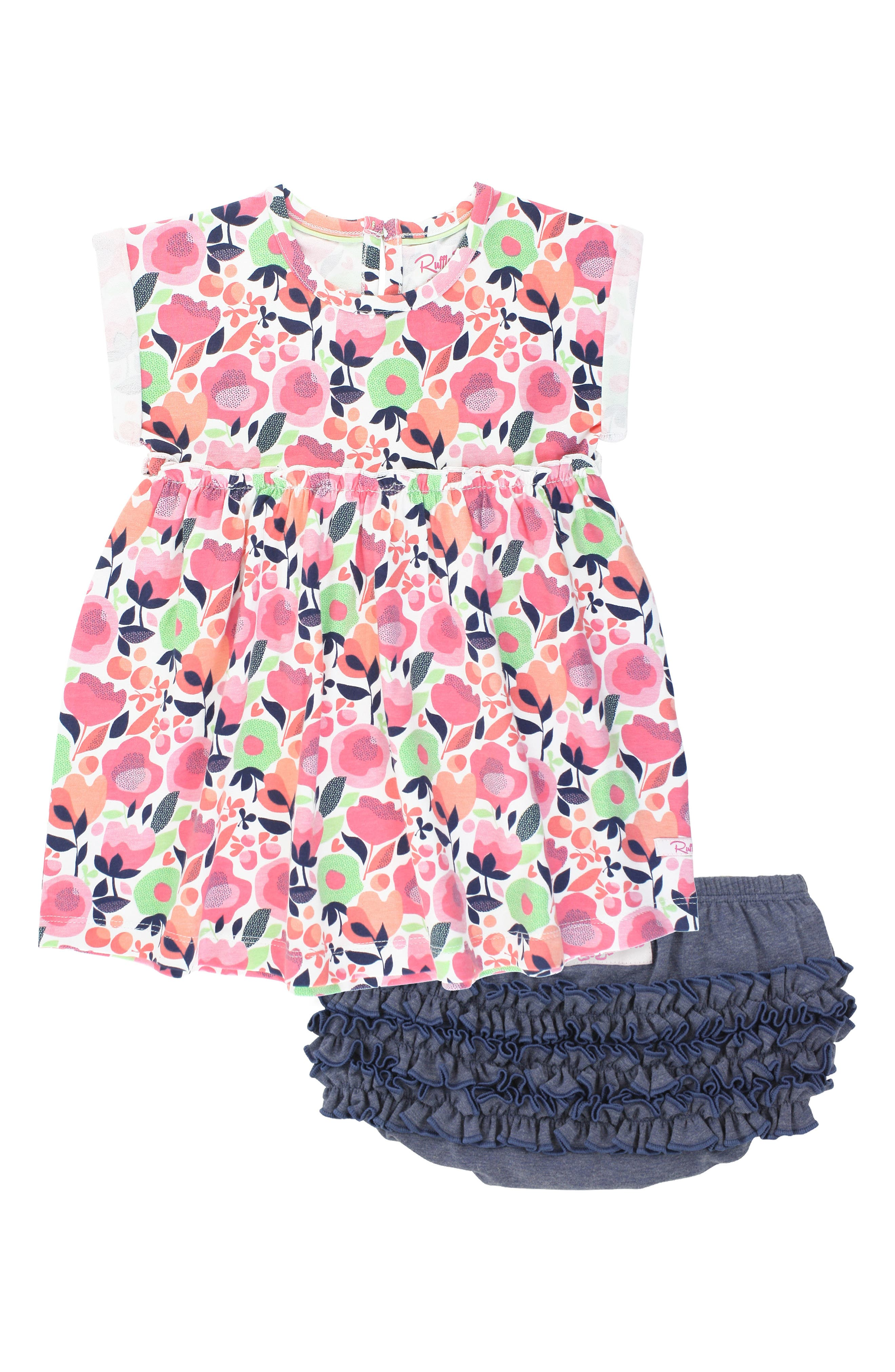 A stretch-cotton dress in a bright floral print and playfully ruffled bloomers come together to make this set a warm-weather favorite. Style Name: Rufflebutts Best Buds Dress & Ruffle Bloomers Set (Baby). Style Number: 6036371. Available in stores.