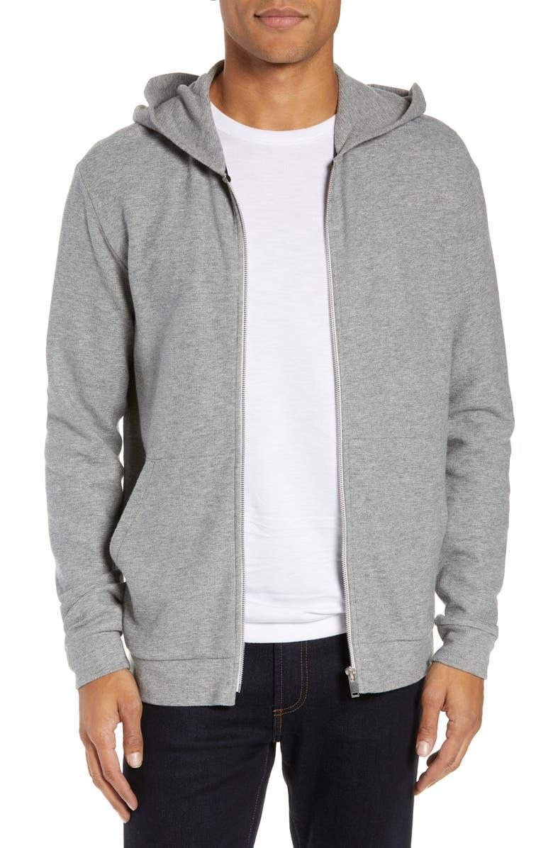 THEORY Essential Zip Hoodie, Main, color, GREY HTHR