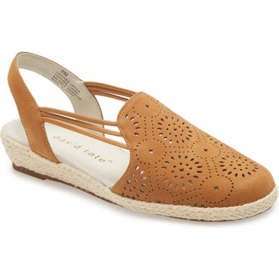David Tate Zena Espadrille Wedge, WW - Brown