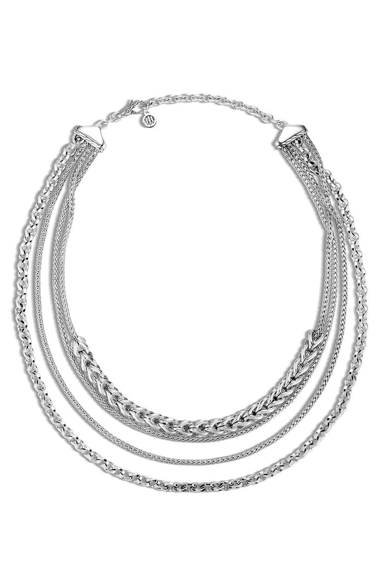 JOHN HARDY Classic Chain Multi-Row Necklace, Main, color, SILVER