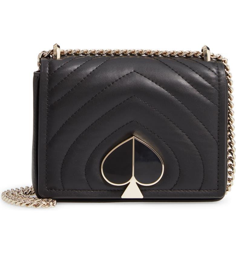 KATE SPADE NEW YORK small amelia leather shoulder bag, Main, color, 001