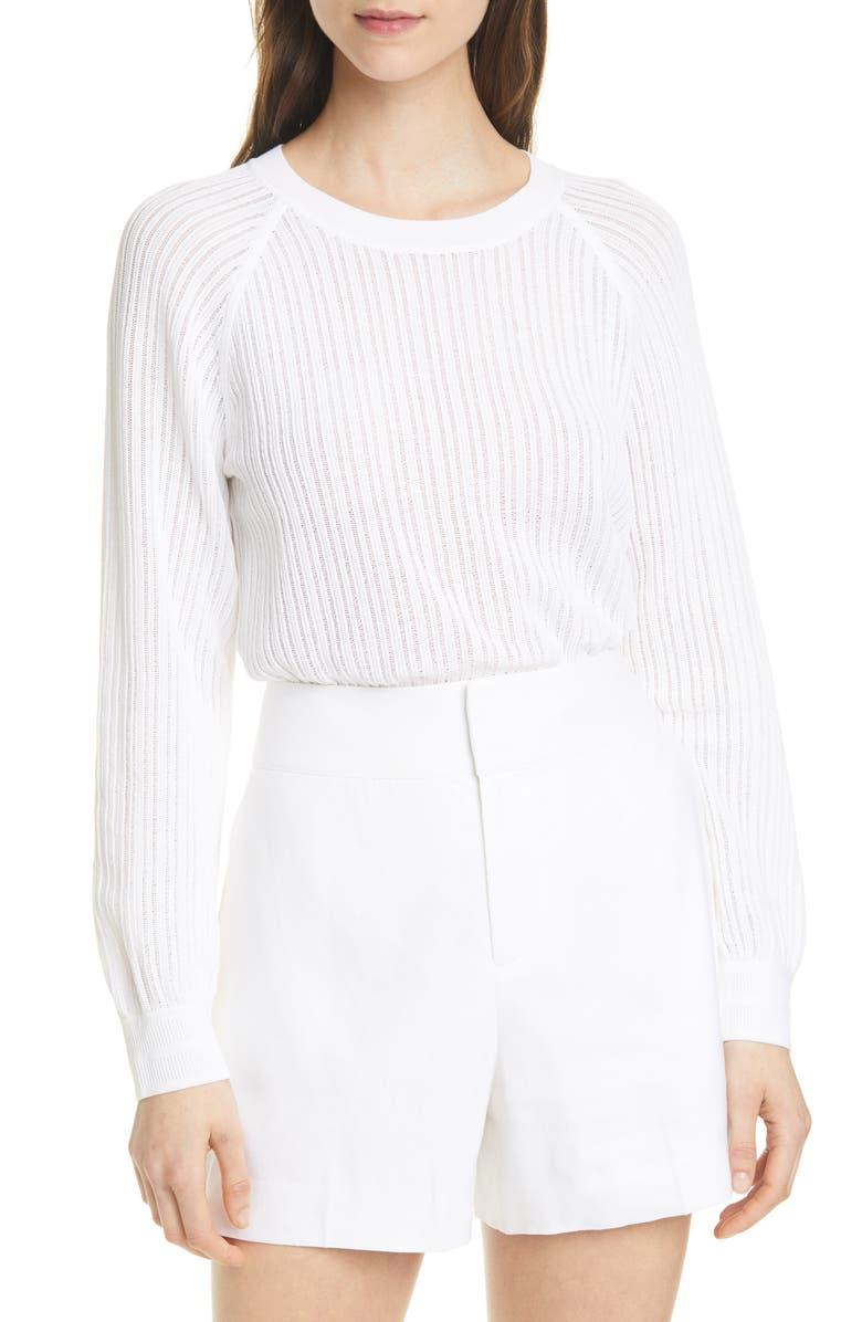 CLUB MONACO Open Stitch Sweater, Main, color, 100