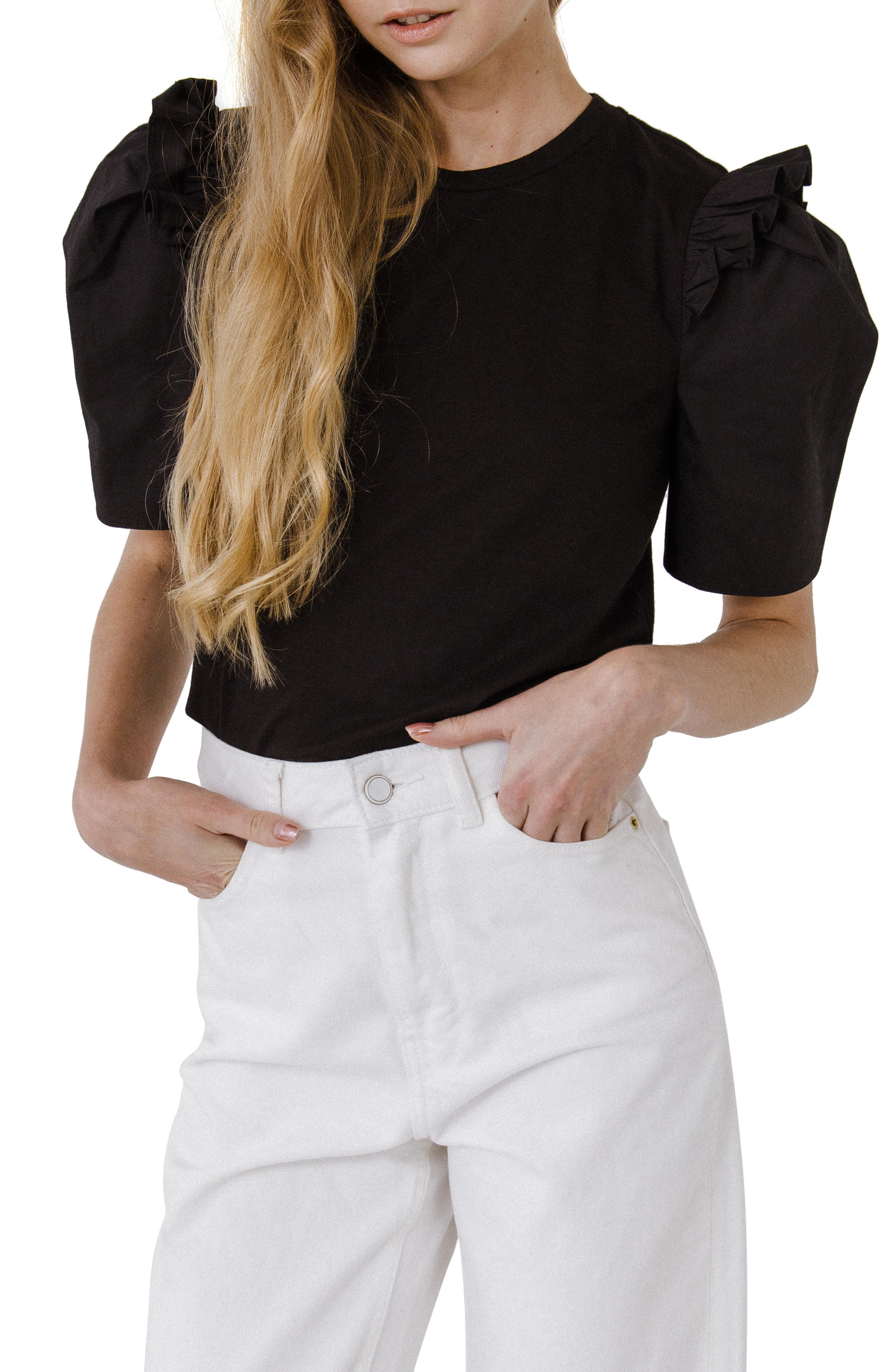 Mini Ruffle Puff Sleeve T-Shirt