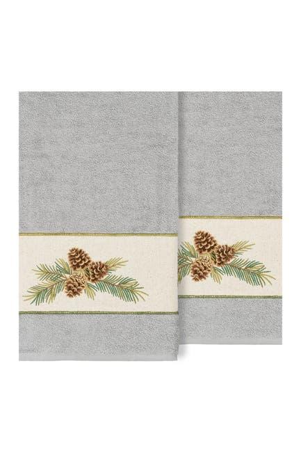 Image of LINUM HOME Pierre Embellished Bath Towel - Set of 2 - Light Gray