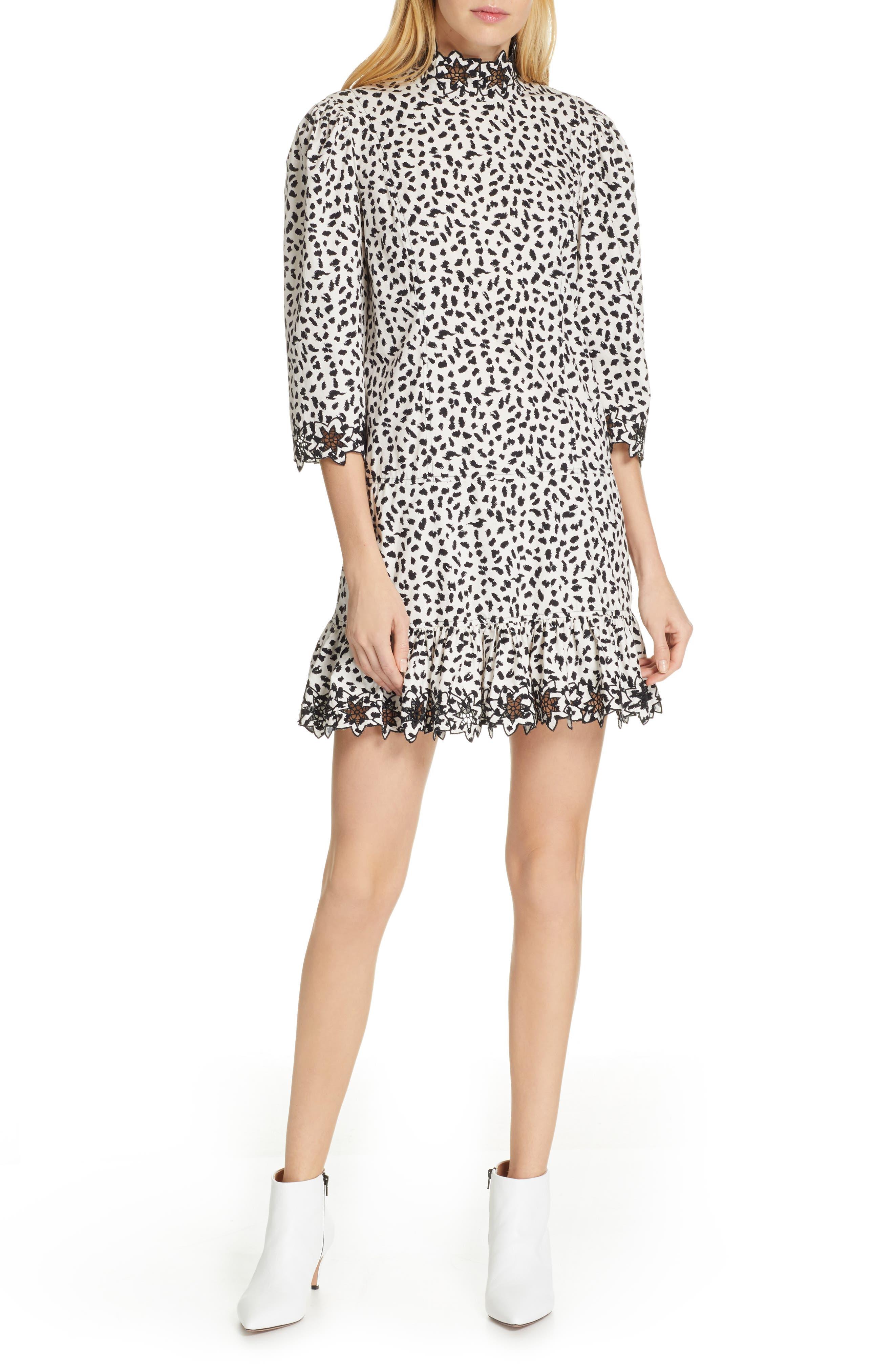 La Vie Rebecca Taylor Embellished Animal Print Dress, Beige