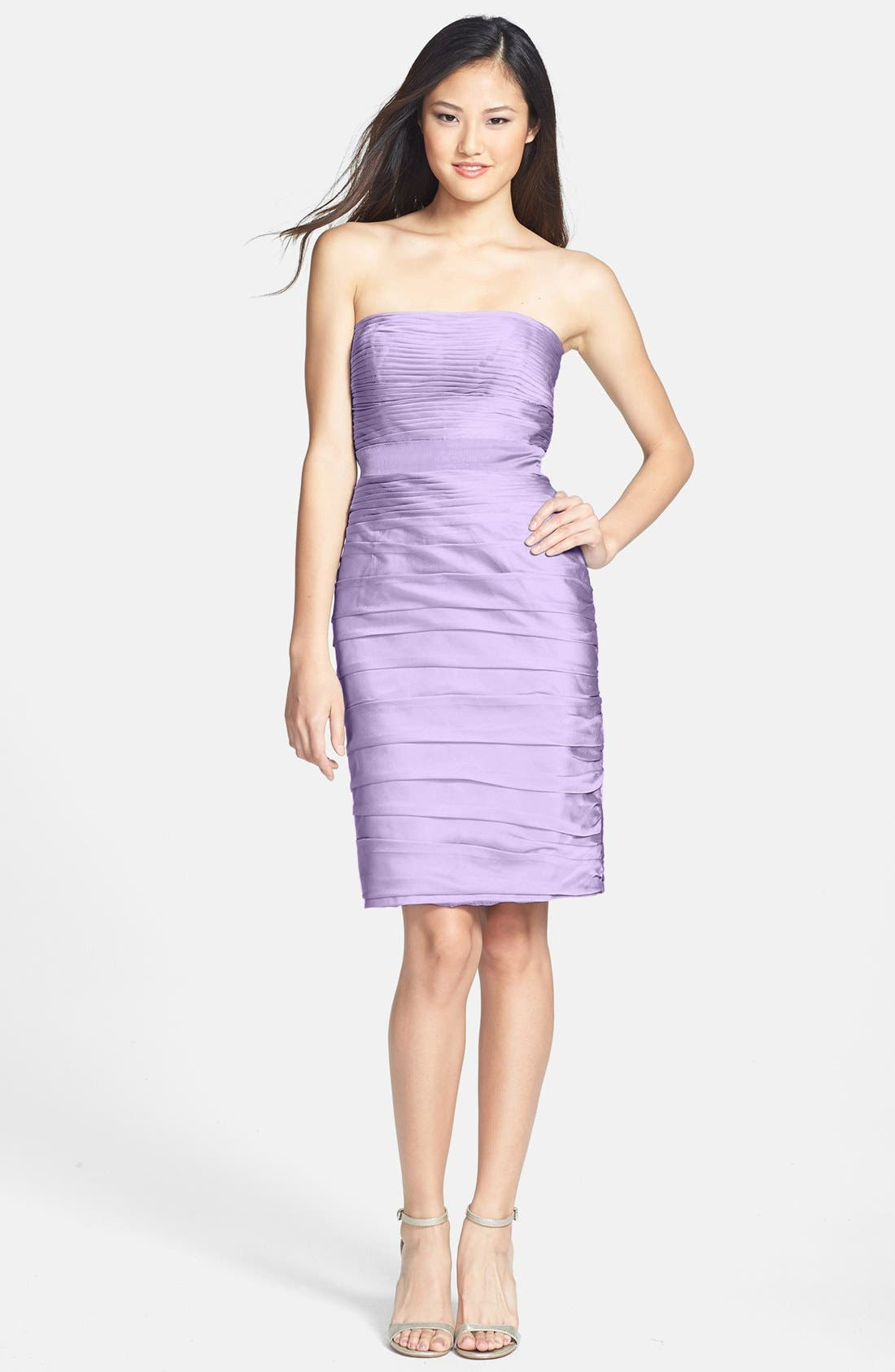 ,                             Ruched Strapless Cationic Chiffon Dress,                             Alternate thumbnail 61, color,                             533