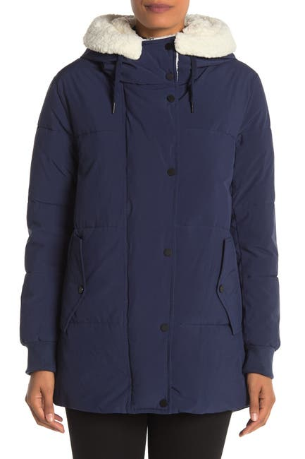 Image of Andrew Marc Faux Shearling Lined Hooded Puffer Coat