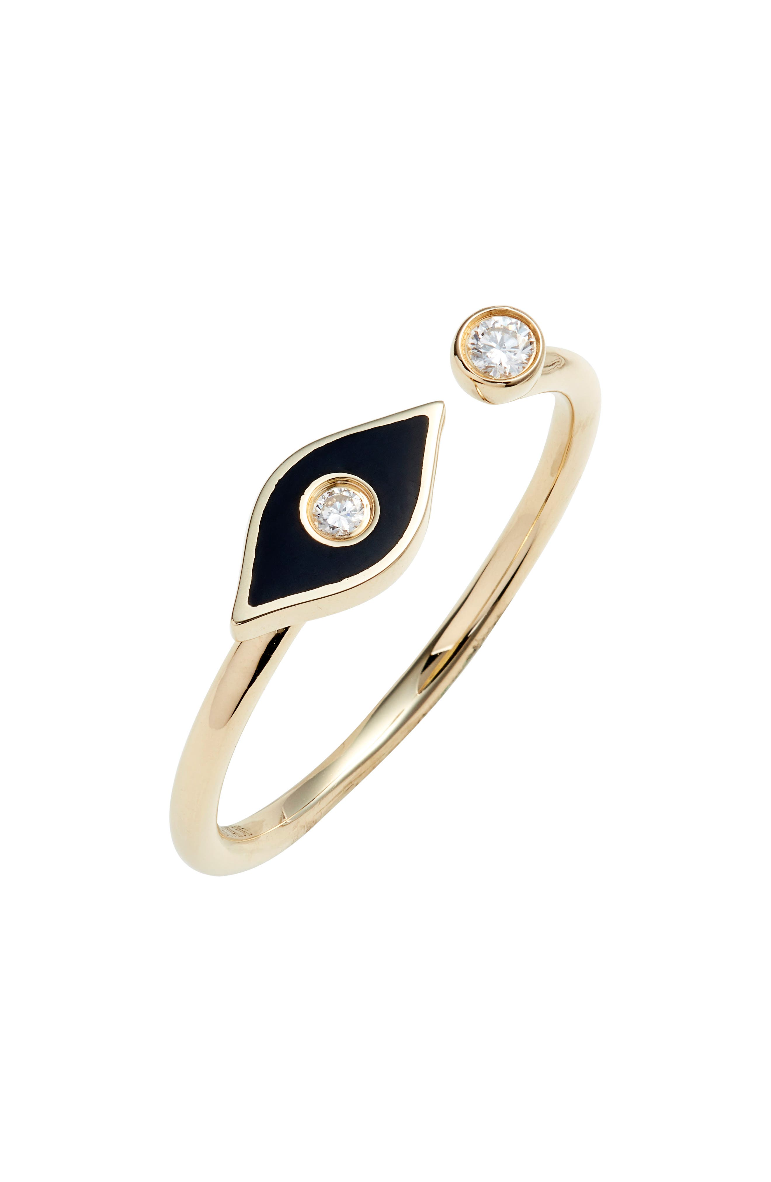A dazzling diamond and black enamel form a protective evil eye on this delicate 14-karat-gold ring perfect for stacking with your other favorite styles. Style Name: Ef Collection Evil Eye Diamond Open Ring. Style Number: 5863735. Available in stores.