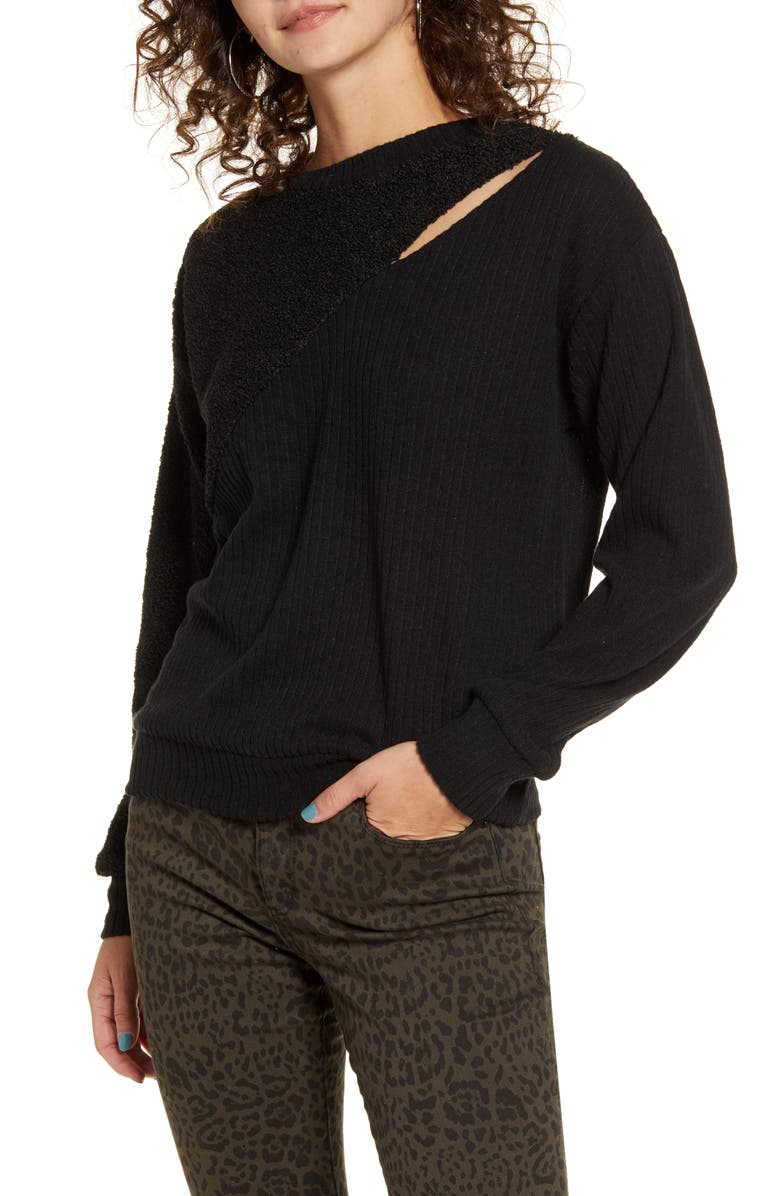 SOCIALITE Mixed Media Sweater, Main, color, 001