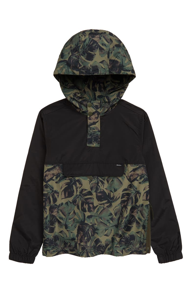 RVCA Camo Hooded Anorak Pullover, Main, color, OLIVE