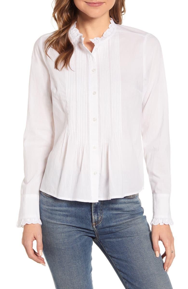 LUCKY BRAND Eleanor Pintuck Cotton Blouse, Main, color, 110
