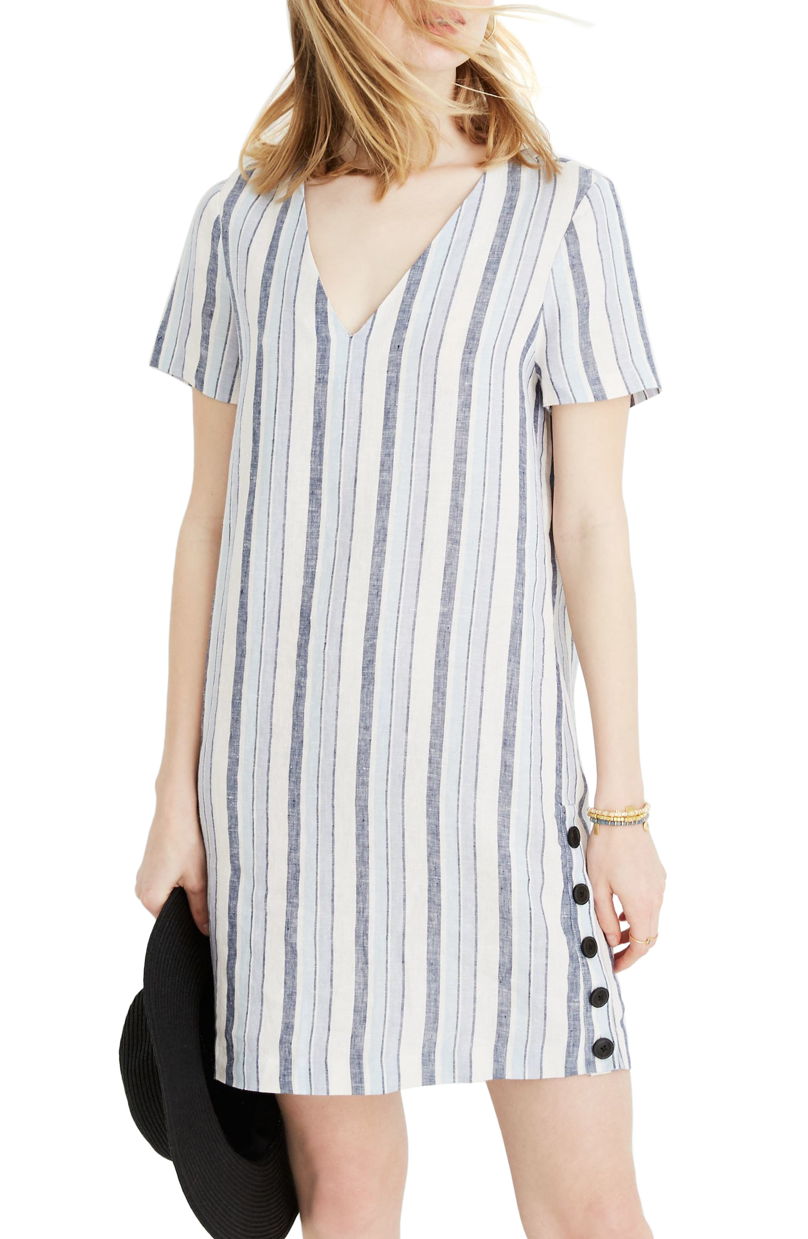 Madewell Easy Side Button Linen Dress, Yellow