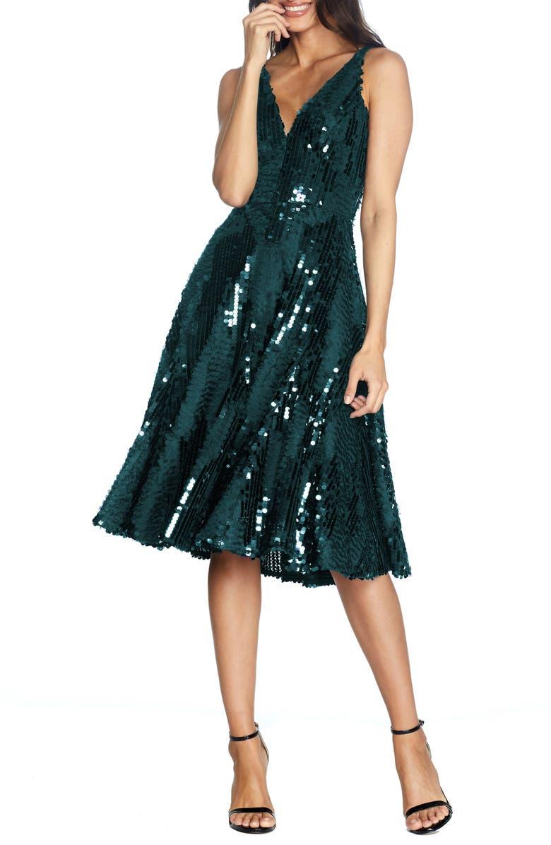 DRESS THE POPULATION Sophie Fit & Flare Dress, Main, color, PINE