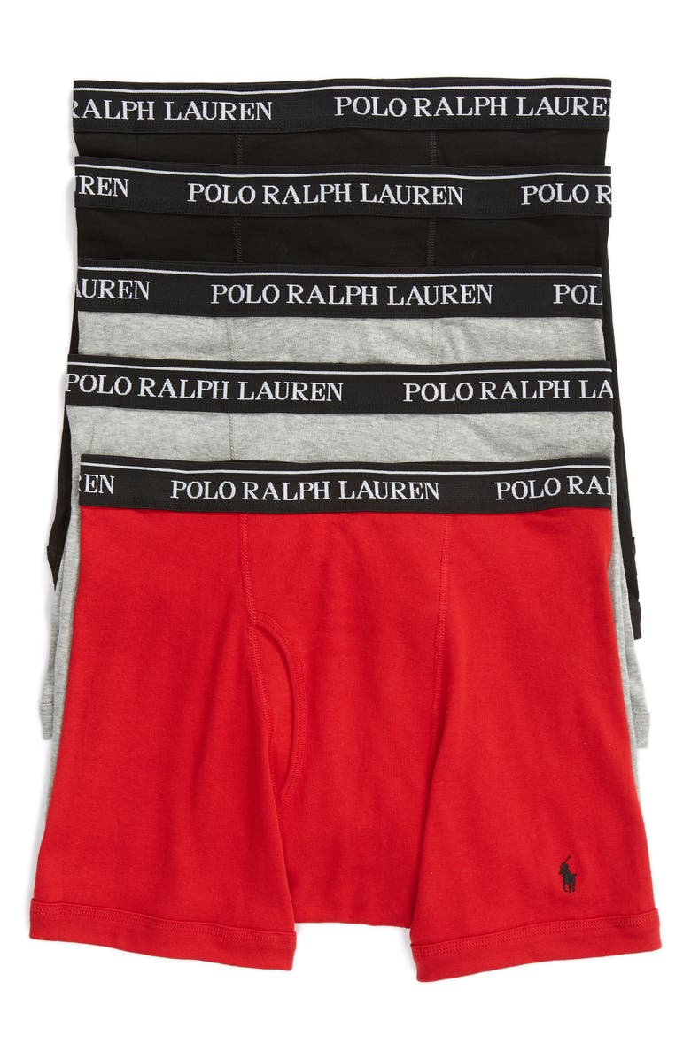 LAUREN RALPH LAUREN Polo Ralph Lauren 5-Pack Cotton Boxer Briefs, Main, color, 998